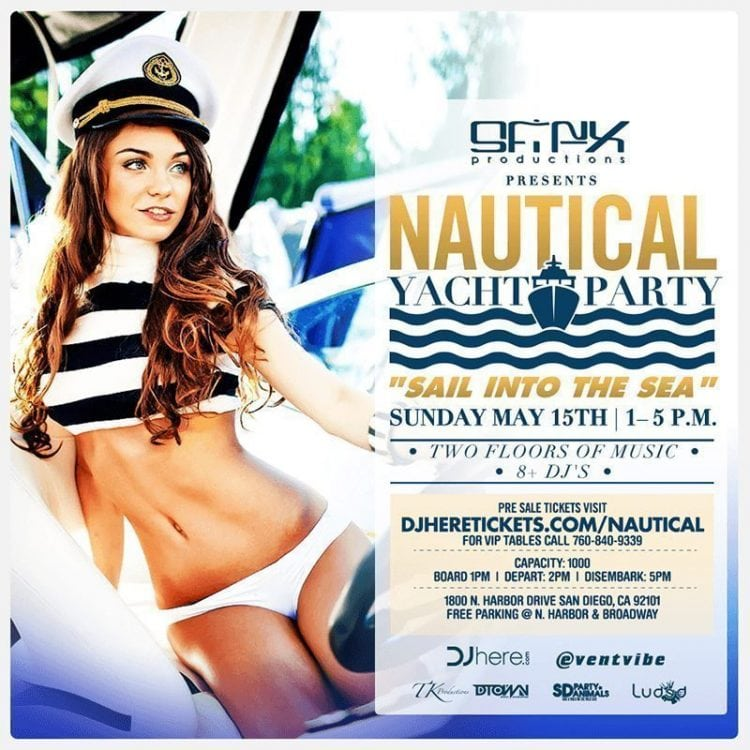 Nauctical Yacht Party Event Discount Promo Code Tickets party cruise harbor horn blower sail into the sea