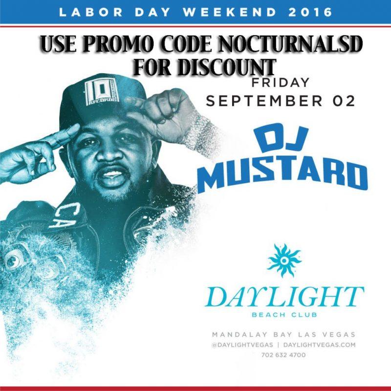 DayLight Las Vegas LABOR DAY 2016 DJ MUSTARD Tickets Discount PROMO CODE Mandalay Bay beach club