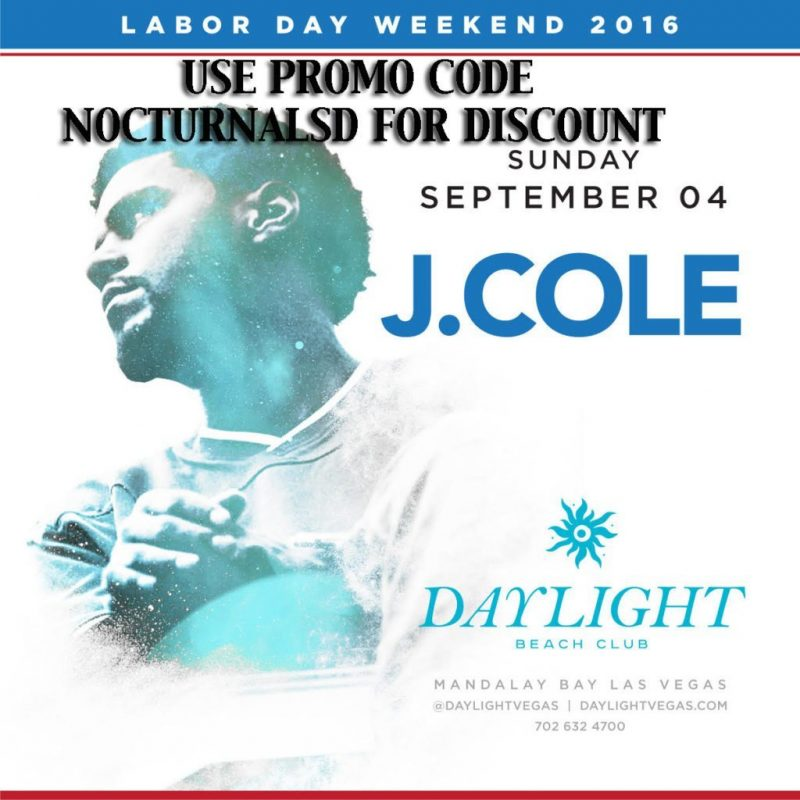 DayLight Las Vegas LABOR DAY 2016 J COLE Tickets Discount PROMO CODE Mandalay Bay beach club beachclub