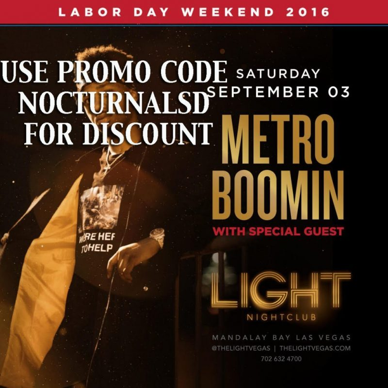 Light Las Vegas METRO BOOM LABOR DAY 2016 Tickets Discount PROMO CODE Mandalay Bay
