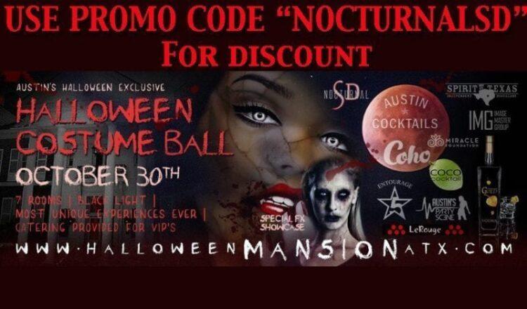 Halloween Mansion Austin Atx Tickets PROMO CODE discount 2016 costume ball vip wrist band coupon