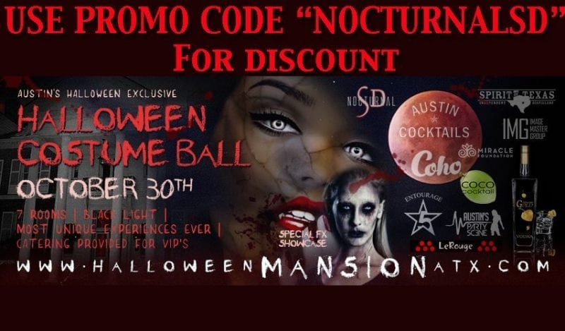 Halloween Mansion The Costume Ball DISCOUNT Promo Code Austin atx party 2016