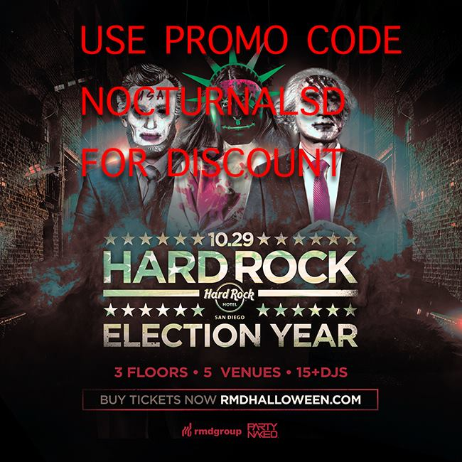 Hardrock Halloween Election Year 2016 TICKETS DISCOUNT PROMO CODE san diego hotel vip bus dj package