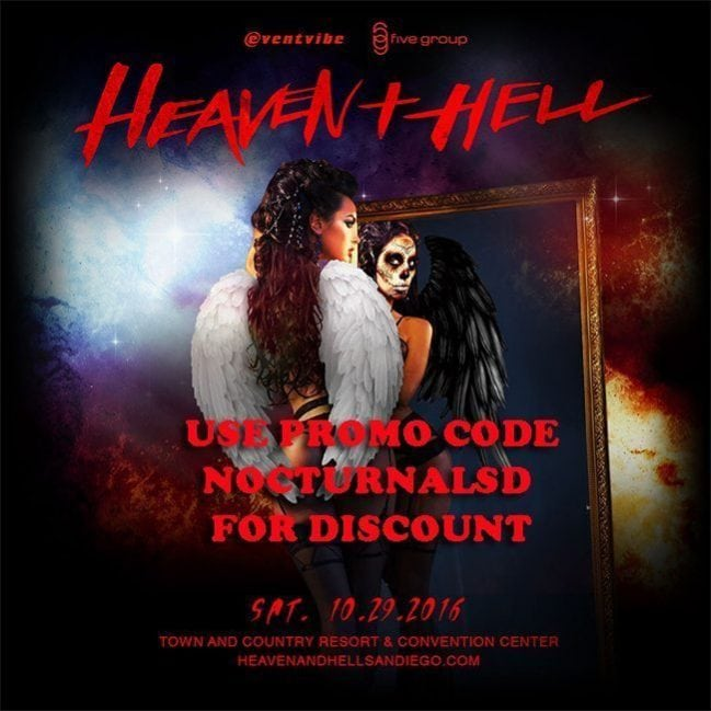 Heaven Hell Halloween 2016 Tickets DISCOUNT Borgeous Apashe, vip wrist bands, coupon promo code, San Diego Mission Valley Town and Country Convention center halloween