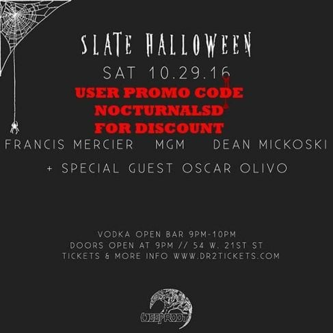 Forbidden Palace Halloween 2016 Slate NY TICKET DISCOUNT PROMO CODE, VIP table bottle service pricing, guest list, costume party, open bar, Francis Mercier