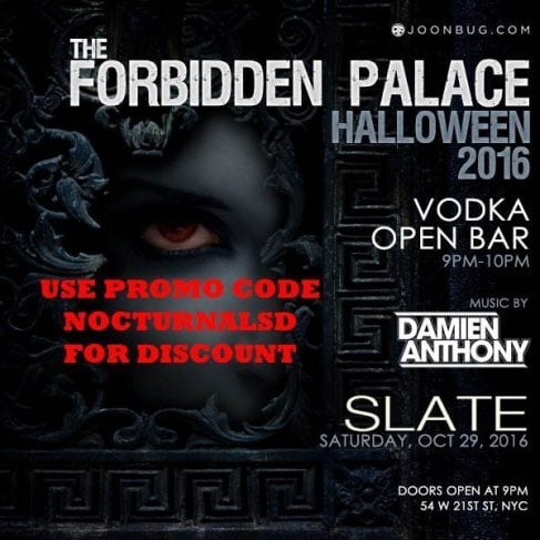 slate ny night club halloween forbidden palace 2016 vip table bottle