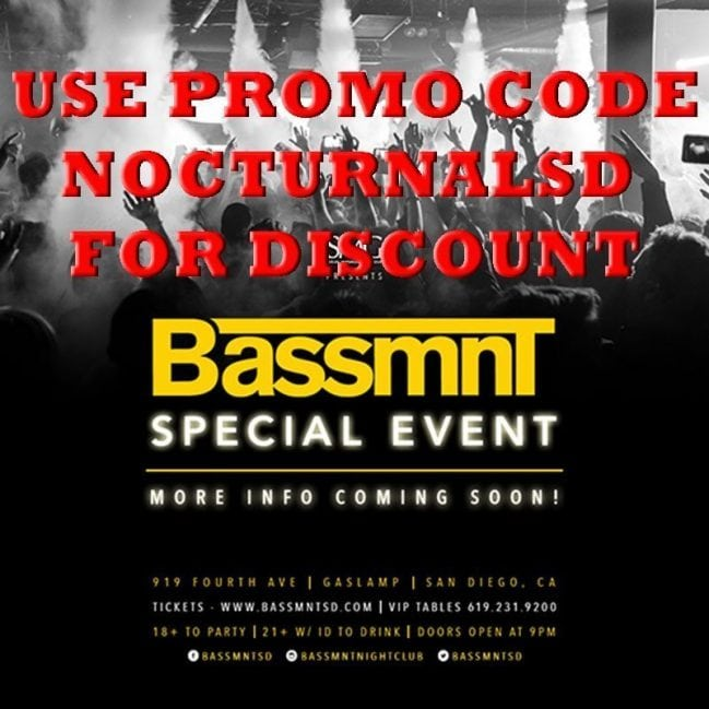 Bassmnt NYE 2017 Tickets Discount Promo Code San Diego new years eve gaslamp vip downtown bottle table