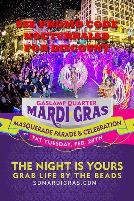 Mardi Gras Gaslamp 2017 Tickets DISCOUNT PROMO CODE San Diego