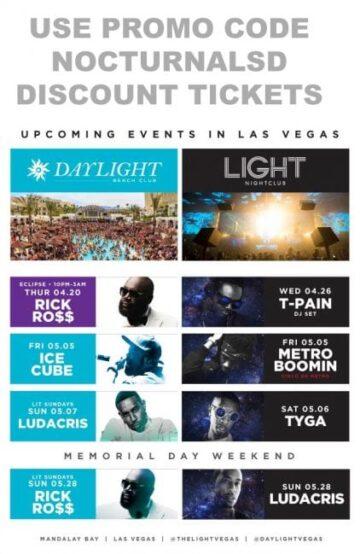 daylight light las vegas club pool tickets discount promo code 2017 mandalay bay casino events
