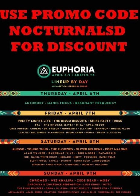Euphoria Music Festival Tickets DISCOUNT PROMOTIONAL CODE 2017 Austin Texas passes bands one day 1 day camping rv