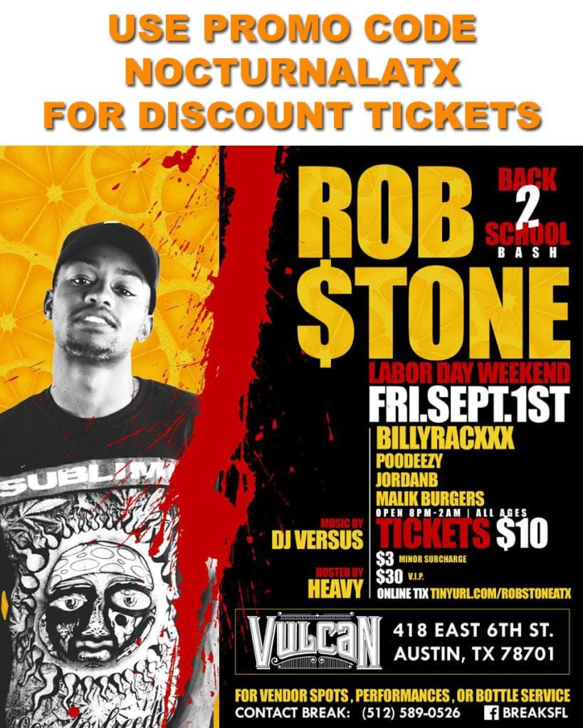 VuLCAN GAS TICKETS DISCOUNT PROMO CODE ROB STONE GUEST LIST FREE COVER 18 and up bar 6th street austin 2017