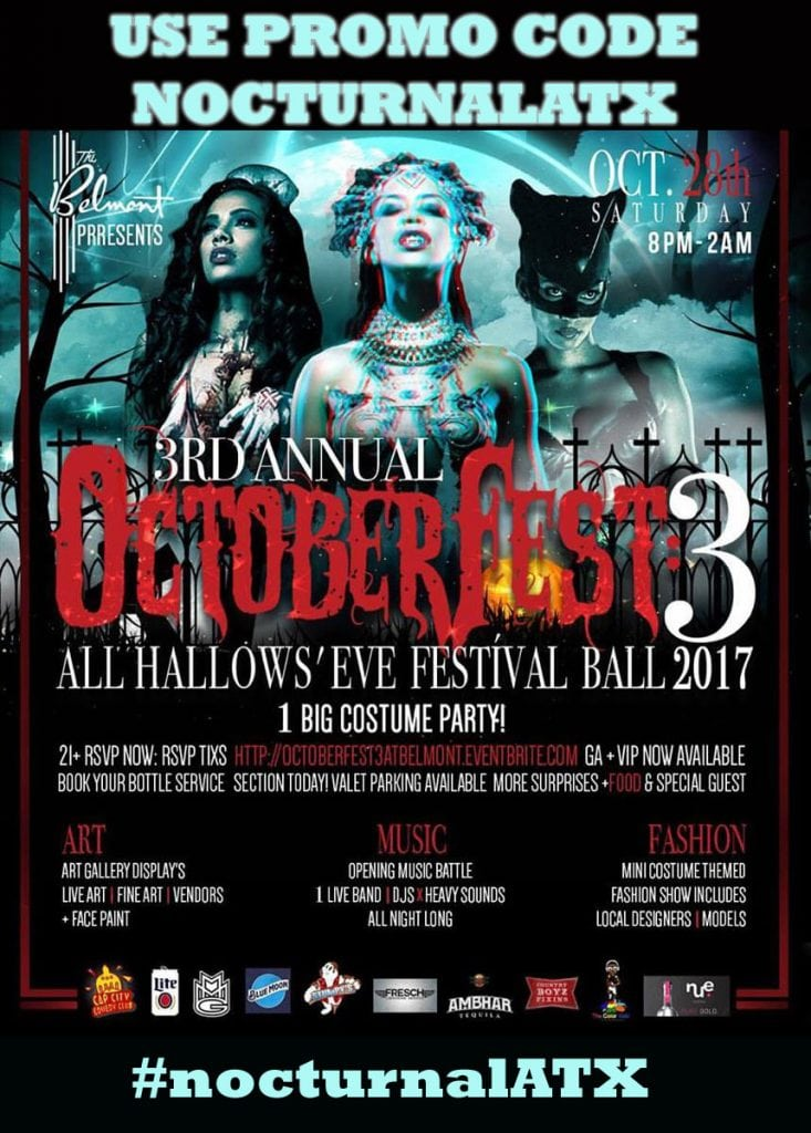 Belmont Halloween Fest 3 2017 DISCOUNT PROMO CODE TICKETS Austin Ball Festival vip art fashion show the belmont hotel best top all hallows eve