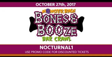 Bones And Booze Bar Craw 2017 Discount Promo Code Tickets Monster Bash gaslamp downtown clubs nightlife costume party events