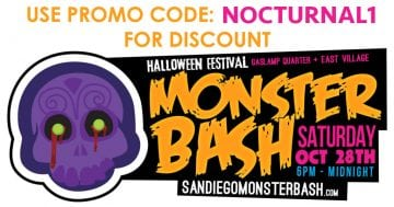 Monster Bash 2017 Halloween Gaslamp DISCOUNT Tickets Promo Code NOCTURNAL1 bones and booze crawl club bar nightlife gaslamp downtown costume halloween parking afterparty