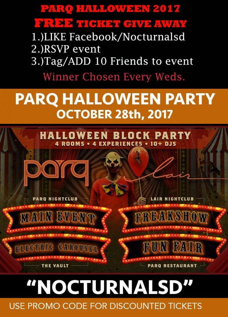 Parq Halloween 2017 san diego promo code tickets vip guest list free coupon promo code