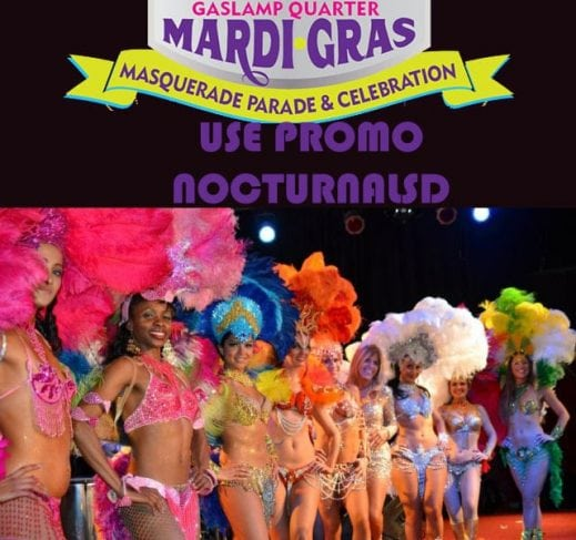 gaslamp quarter district downtown san diego mardi gras club bar event parade beads nude breast 2018 discount promotional code coupon free entry admission 207 hard rock fluxx dublin mcfaddens el chingon