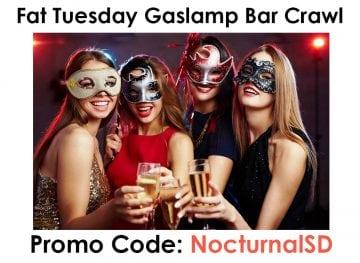 Fat Tuesday Masquerade Promo Code San Diego Downtown Gaslamp Discount