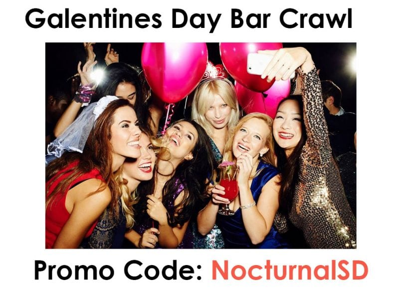 Galentine's Day Cupid Bar Crawl 2018 Promo Discount Code San Diego