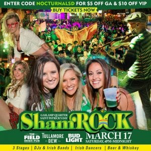 Shamrock 2018 Promo Code St Patricks Day Gaslamp Downtown San Diego, mcfarelane promotions, sd block parties, five group, party naked