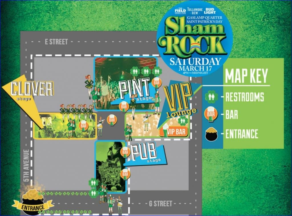 Map of ShamROCK 2018 held in the San Diego Gaslamp area, March 17, 2018