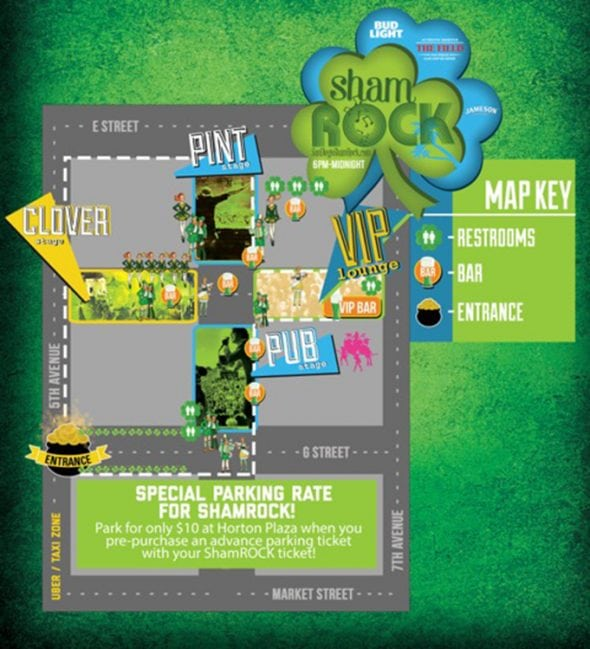 shamrock 2018 event map stages, bars, clubs, food, drinks, parking, hotels, taxis, directions