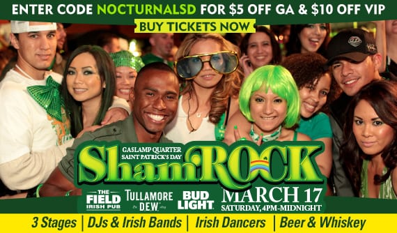 shamrock st patricks day vip ticket discount promo code gaslamp downtown san diego