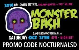 Monster Bash 2018 Promo Code NOCTURNALSD Gaslamp Halloween San Diego st patricks day parade block party vip ga tickets