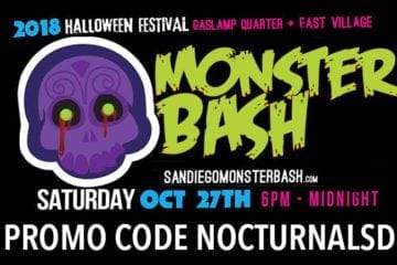 Monster Bash 2018 Promo Code NOCTURNALSD Gaslamp Halloween San Diego st patricks day parade block party vip ga tickets