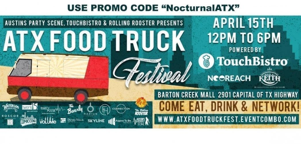 ATX Food Truck Festival Promo Code Tickets Discount Austin 2018, best food trucks in austin, austin food truck festival, things to do in austin april 15th sunday, mexican, bbq, greek, french, german, pizza, american, sanwhiches, subs, italian, tex mex, indian, asian, Chinese, pho. austing