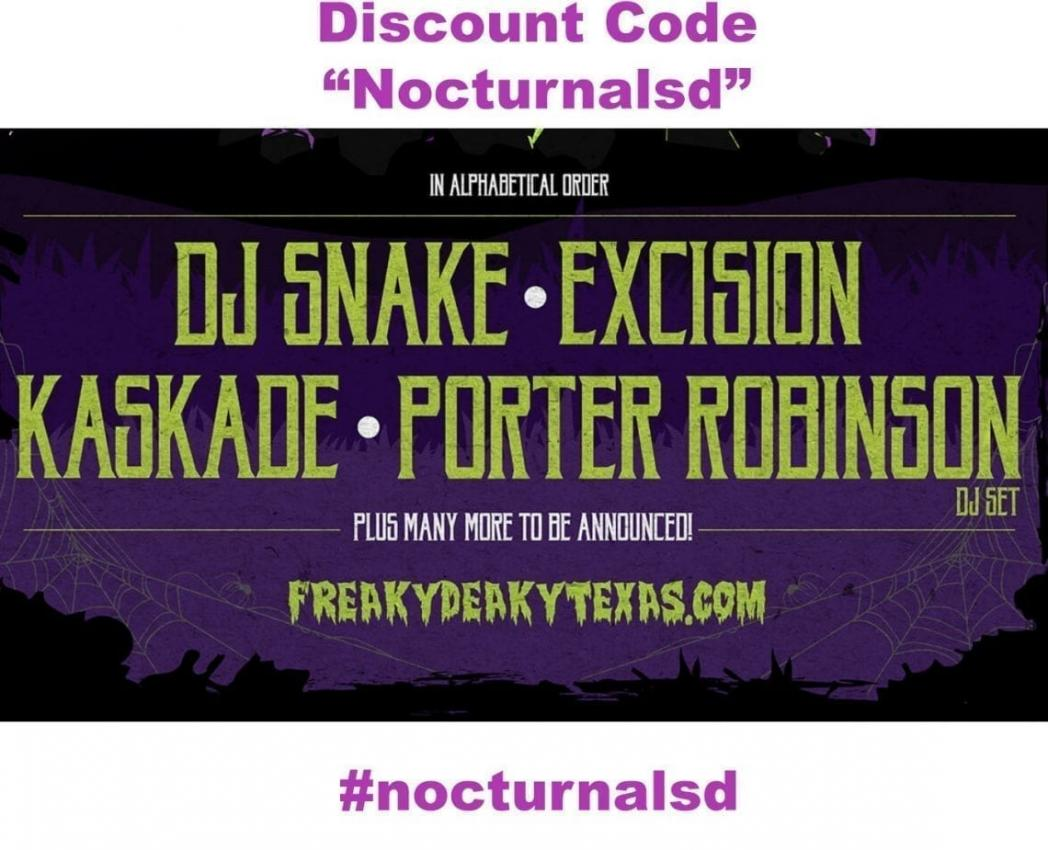 freaky deaky discount promotional code coupon halloween set time line up port robinson kaskade excision dj snake tickets passes for sale on sale by owner hard copy