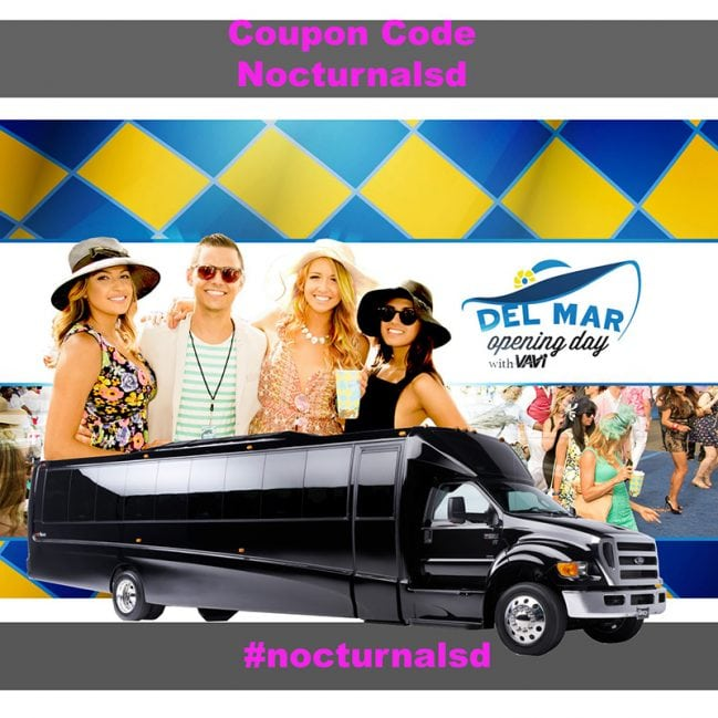 opening day del mar race track party bus transportation pickup pacific beach pb encintias downtown san diego 2018 discount tickets promo code coupon, limousines, shuttles, charter buses, taxis, uber, lyft, rideshare, places to park, parking, drinks, hats, shoes, fashion, tickets for sale, horses, betting, odds,