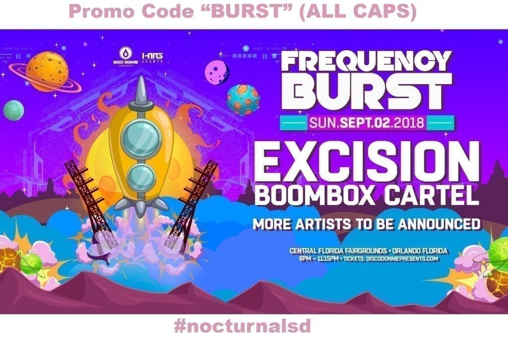 tickets for sale event lineup set times frequency burst orlando 2018