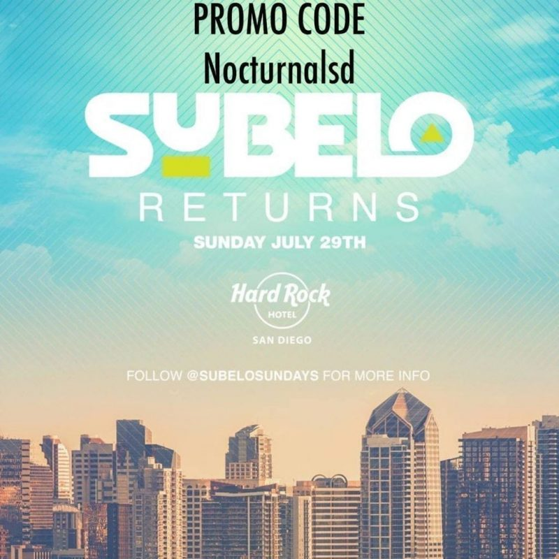 """SUBELO Pool Party Promo Code """"NocturnalSd"""" Hard Rock Sundays Looking for a pool party in san diego on sundays ? Well this summer 2018 we have the best locations at the float roof top pool. Usually host to Sunburn pool parties the Hard Rock Rooftop located in the downtown San Diego gaslamp district is the place to be on sundays. Make sure to purchase your tickets early to save on discounted prices before tickets sell out and prices go up. Use our subelo promotional code in san diego for a discount ticket price. Tickets are on sale and for sale now at the website. Use Promo Code :Nocturnalsd Athttps://nightout.com/events/subelo-sundays-pool-party/tickets?utm_campaign=nocturnalsd-19 Subelo Sundays Pool Party Vip Services If you are looking to find discount pricing on Vip services, tables, cabanas, day beds or entry give us a ring and we will attempt to find you the price you are looking for. Subelo Hard Rock Pool Party Guest list There will be no free Subelo hard rock guest lists so buy your tickets early . Subelo Float Cabanas Subelo pool party cabanas will be available with advanced reservation so hurry and purchase them today. Subelo Float Day Bed Subelo Float day bed reservation can be made by contact us directly. Subelo Hard Rock San Diego Line Up If you are looking for the head line talent set times and line up for the hard rock subelo pool party sunday check back soon ! DJ Martin Kache DJ Dynamiq DJ Seize DJ Kien DJ Nawtee DJ Young O Movimiento Latino The Latino League O Entertainment 7Sixty Entertainment Subelo SundaysisCurated byDJ Dynamiq & Martin Kache The Only Latin Pool Party in San Diego Hard Rock Subelo Sundays Hashtags #Subelosd #sdsubelo #subelo #subelosundays #hardrocksd #hardrockhotelsd #sandiegohardrock #hardrocksandiego #floatsd #floatrooftop #club207 #207sd #sandiego #gasamp #sunburn #sunburnpool #sunburnsd #partynakedsd #sdpartynaked #gdmsd #nocturnalsd"""