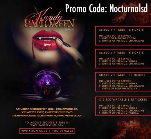 Kandy Halloween 2018 Promo code discount hollywood lineup