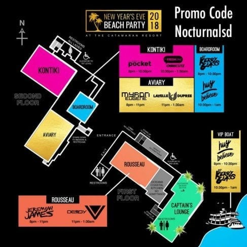 NYE beach and yacht party map discount promo code