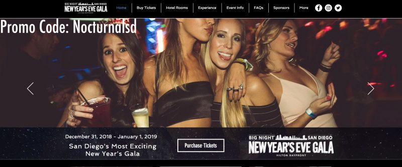 san diego big night nye gala 2019 promotional code discount