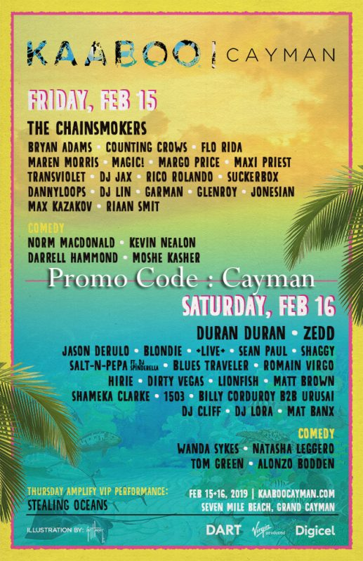kaaboo cayman line up 2019 music comedian day 1 day 2 day 3 friday sat sunday discount promotional code coupon deal sale