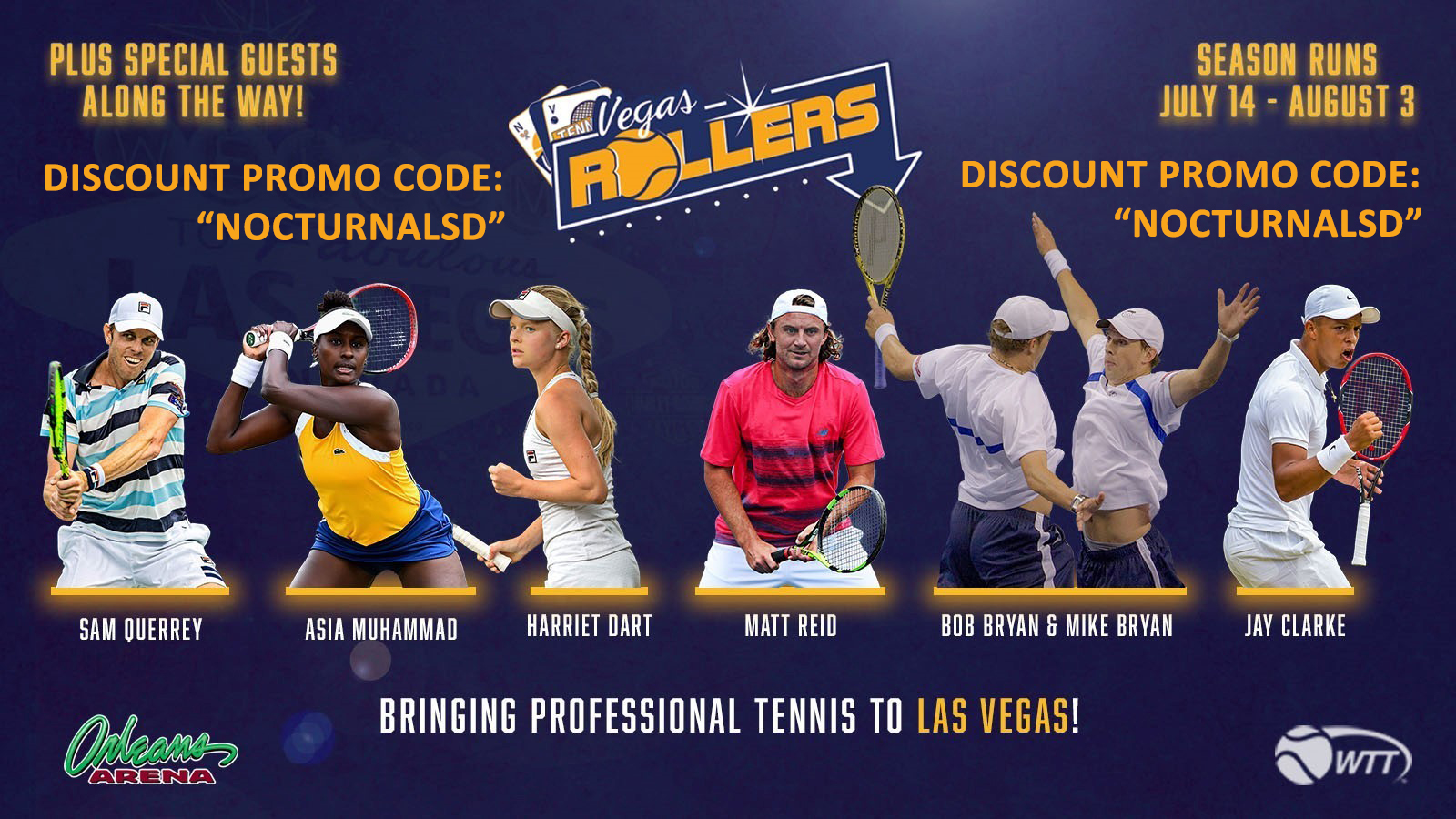 Vegas Rollers Tennis Tickets Discount Promo Code, Las Vegas, Professional Tennis, Discount Passes, Discount VIP