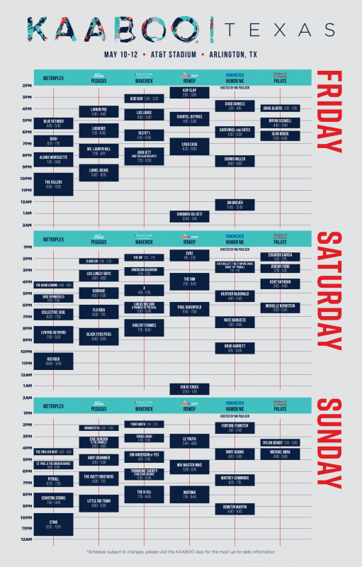 KAABOO 2019 Daily Lineup Schedule