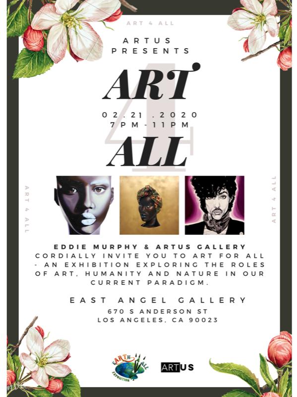 ArtUS Gallery Exhibition Promo Code, Discount Tickets, Art 4 All Los Angeles, Eddie Murphy, Bria Murphy, The East Angel Gallery