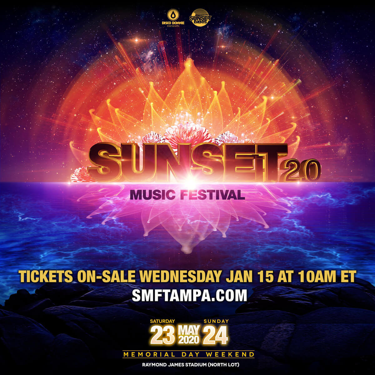 Sunset Music Festival Payment Plan Discount Promo Code,SMF Festival, 2020 Discount Tickets, Tampa Florida, Lineup, GA, May, Saturday, Sunday,