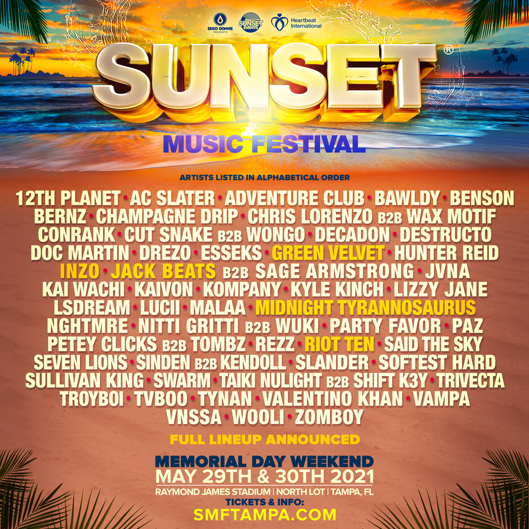 Sunset Music Festival Promo Code, SMF 2021, Tampa FL, Florida, Discount Tickets, VIP Passes, GA, Raymond James Stadium, Concert, Lineup, Hotels